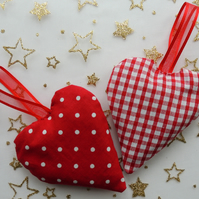 Pair of Red and White Hanging Heart Shaped Lavender Sachets