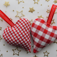 Pair of Red and White Gingham Hanging Heart Shaped Lavender Sachets