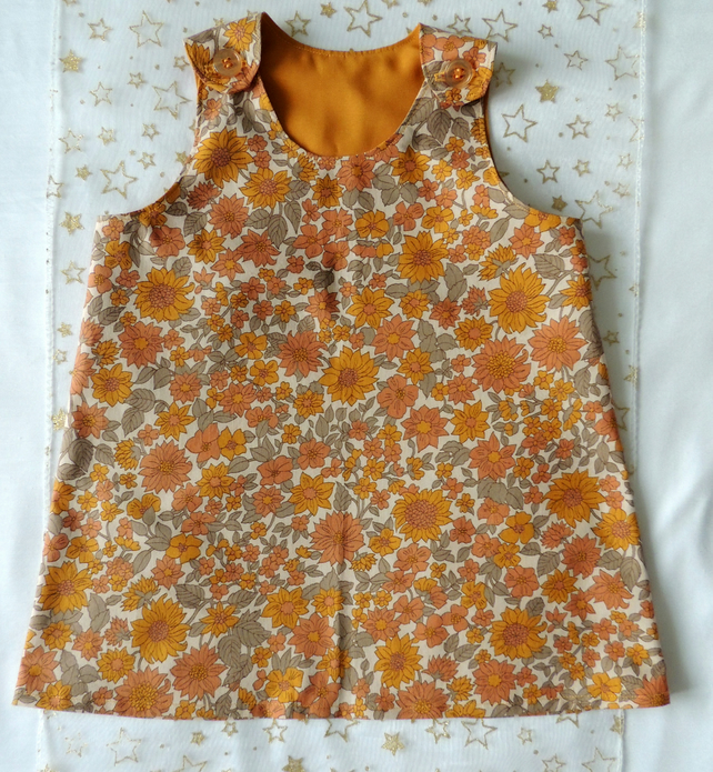 Retro 1960's style Pinafore in vintage 1960's cotton fabric to fit 12-18 months