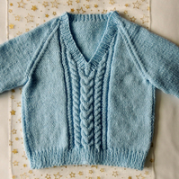 "Hand Knitted Pale Blue 24"" V neck Jumper Age Approx 3-4 years"