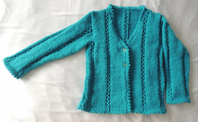 "Girl's Hand Knitted Turquoise Cardigan to fit 24"" chest, Age Approx 3-4 years"