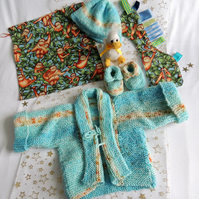 "New Born Baby Boy's 16"" Cardigan Gift Set with Sensory Toy"