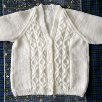 "Girl's Hand Knitted White 24"" Cardigan, Age Approx 3-4 years"