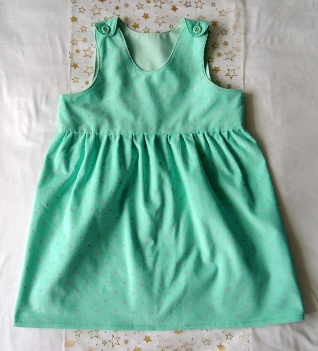 Girl's Pinafore Dress in Mint Green Baby Cord with Pink Spots