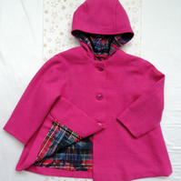 Cerise Pink Hooded Woolen Tweed Coat Age approx 3 years