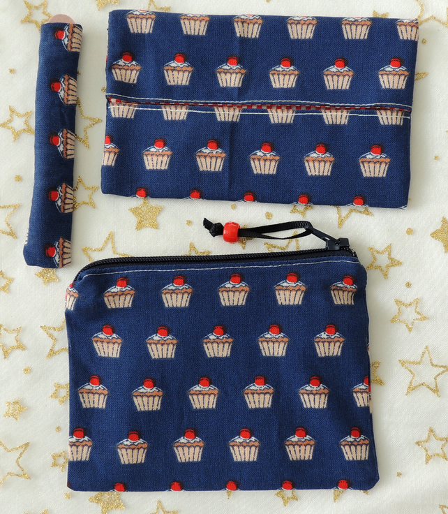Coin Purse, Tissue Holder and Emery Board Set in Navy with a Muffin Design