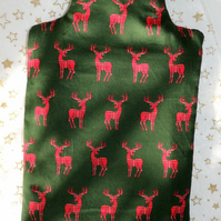 Hot Water Bottle Cover in Green Cotton with Red Tartan Stag Design
