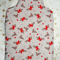 Cotton Hot Water Bottle Cover in a Grey and Red Winter Fox Design