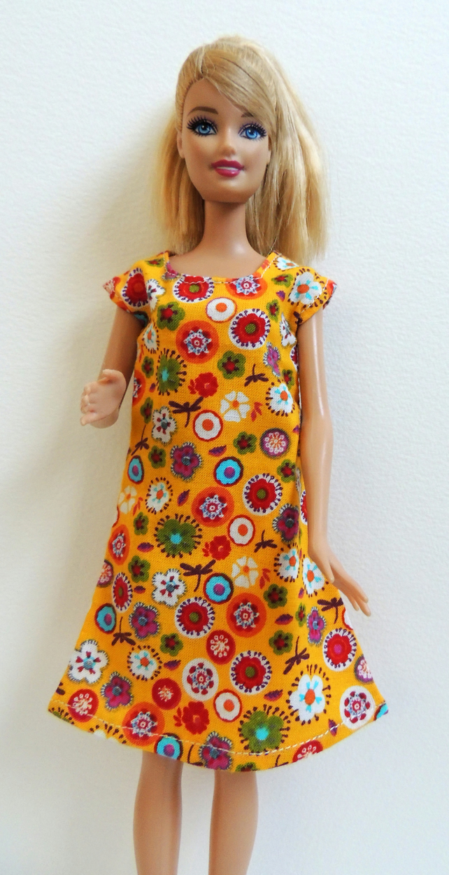 "Yellow A-Line Dress to fit Barbie or similar 12"" Doll"