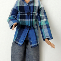 "Grey ""Denim"" Trousers and Check Shirt Top to fit a Barbie or similar 12"" Doll"