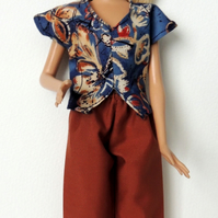 "Brown Trousers and Coordinating Top to fit a Barbie or similar 12"" Doll"