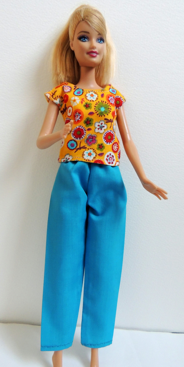 "Trouser and Blouse Top Outfit for a Barbie or similar 12"" Doll"