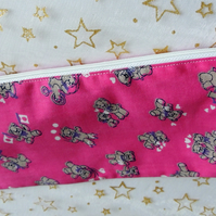 Cerise Pink Pencil Case with a pattern of Teddy Bears and Hearts