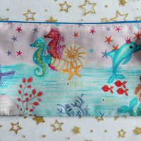 Mermaid, Seahorse and Dolphin Pencil Case