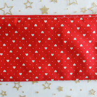Red Pencil Case with pattern of white Love Hearts