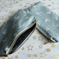 Small Grey Pencil Case with a pattern of Astronauts.