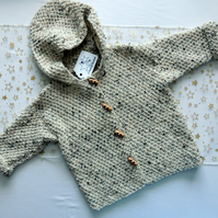 Child's Hand-knitted Hooded Cardigan, age approx 2-3 years, chest 22""