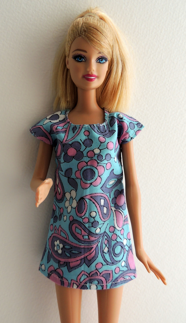 "Mini Dress in genuine 1960's Fabric to fit Barbie or similar 12"" Doll"