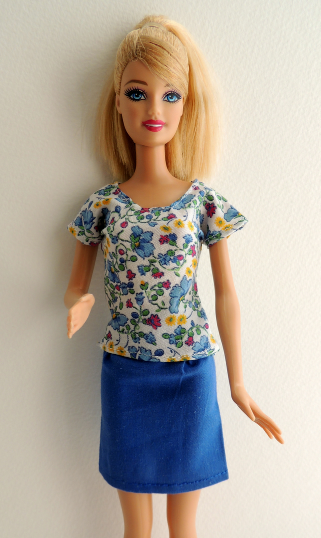 "Short Blue Skirt and Coordinating Floral Top to fit Barbie or similar 12"" Doll"