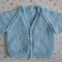 "Hand Knitted Blue V-neck Cardigan to fit 16"" Chest Age Approx 0-6 Months"