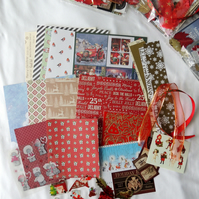 Pot Luck Selection of Papers for Christmas Cards, Scrapbooking or Collage