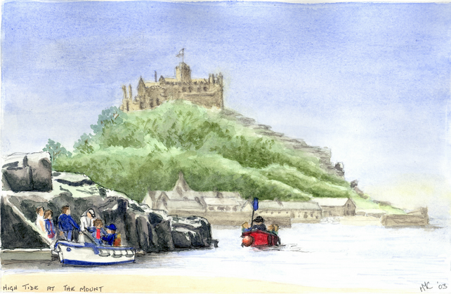 Original Watercolour Painting of St Michael's Mount, Cornwall