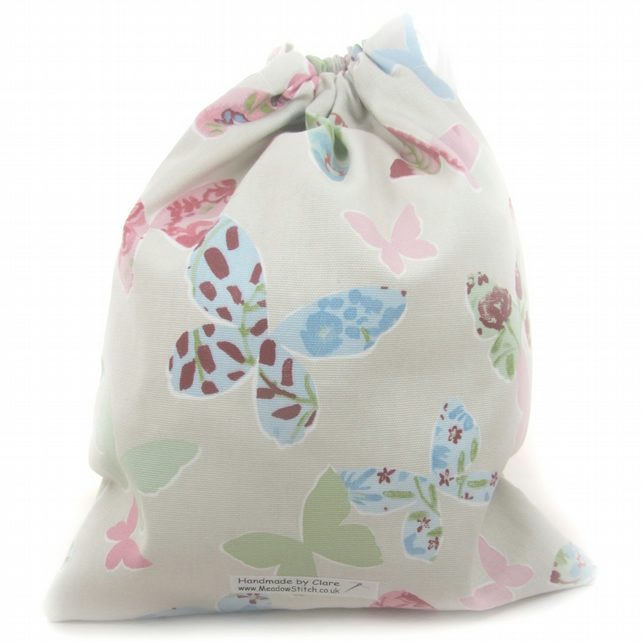 SALE - Butterfly pump bag, nursery bag, butterfly bag, drawstring bag
