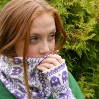 Halloween Fairisle Snood - Midnight Purple