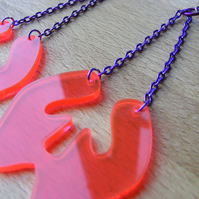 Laser Cut Fluorescent Pink Dangly Chain Earrings
