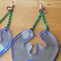 Laser Cut Fluorescent Blue Dangly Chain Earrings
