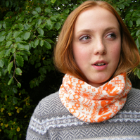 Halloween Fairisle Snood - Pumpkin Orange
