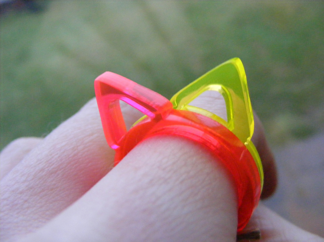 Single Triangle Ring - Laser Cut Fluorescent Acrylic Perspex