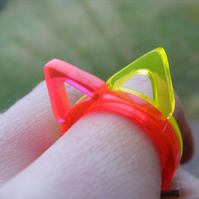 Half Price Sale Single Triangle Ring - Laser Cut Fluorescent Acrylic Perspex