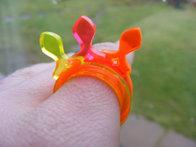 Fish 1 - Laser Cut Fluorescent Acrylic Perspex Ring