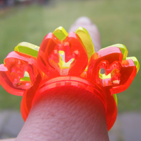 Splat Yoke Ring - Laser Cut Fluorescent Acrylic Perspex