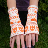 Halloween Fairisle Wristwarmers - Pumpkin Orange