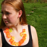 Laser Cut Fluorescent Splat Yoke Necklace