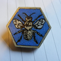 Hand-Painted Laser-cut Hexagonal Wooden Bee Brooch (blue)
