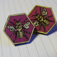 Hand-Painted Laser-cut Hexagonal Wooden Bee Earrings
