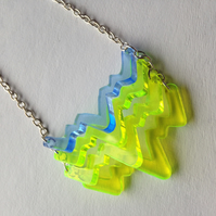 "Chevron ""Wiggle"" Necklace - Fluorescent Laser Cut"