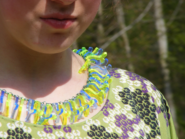 """Mega Fish"" Necklace - Fluorescent Laser Cut"