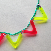 Chevron and Chain Necklace - Fluorescent Laser Cut