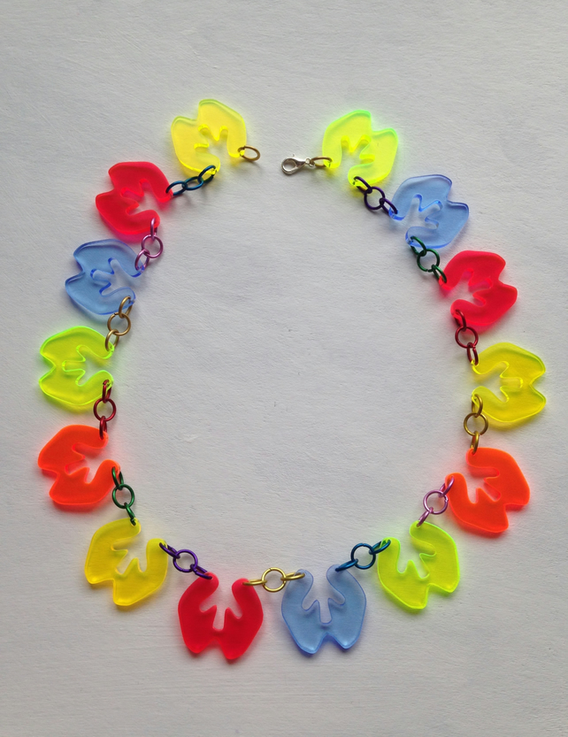 Flat Splat Necklace – Fluorescent Laser Cut Perspex