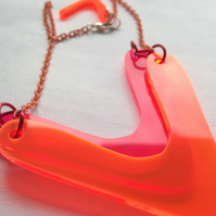 Big Vee Necklace – Fluorescent Laser Cut Perspex