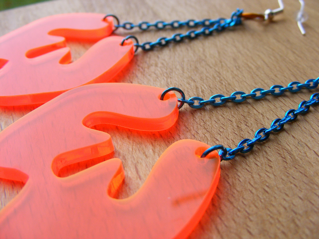 Orange Dangly Splat earrings – Fluorescent Laser Cut