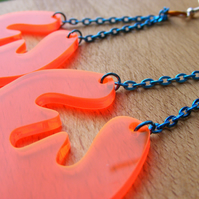 Dangly Splat earrings – Fluorescent Laser Cut -