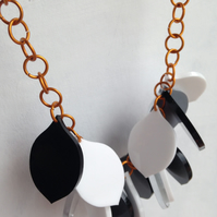 Chunky Petal Necklace – Black, White and Mirror – Laser Cut