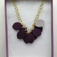 Chunky Petal Necklace – Chunky Purple and golden yellow– Laser Cut