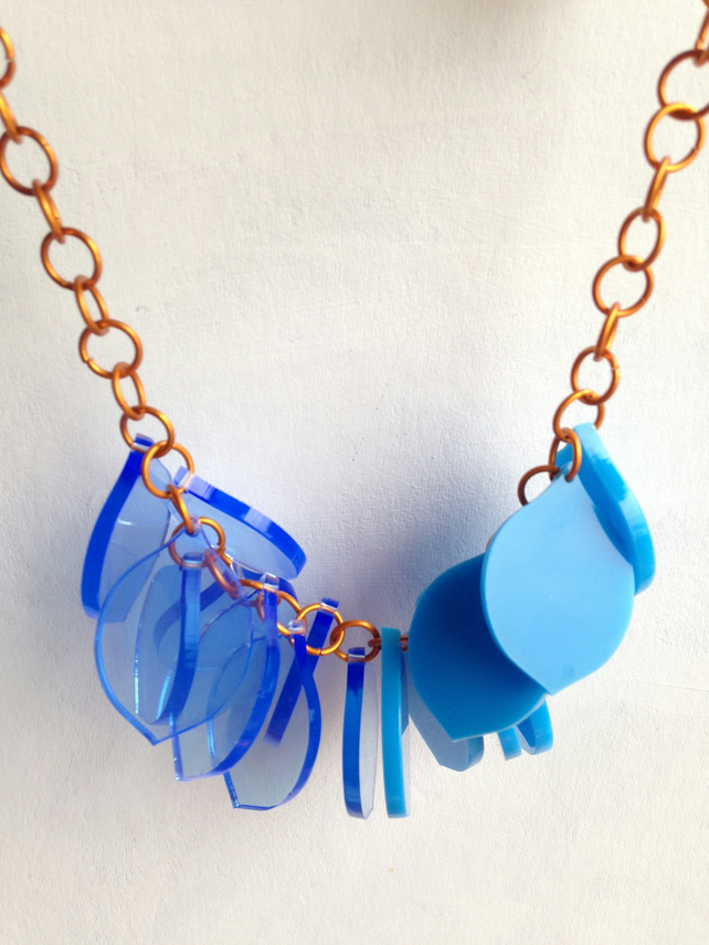 Chunky Petal Necklace – Half and Half Fluo and Patent Blue– Laser Cut