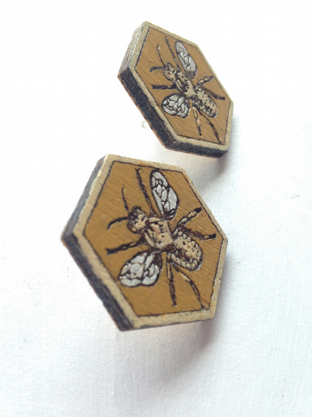 Half Price Sale! Hand-Painted Laser-Cut Hexagonal Wooden Bee Earrings